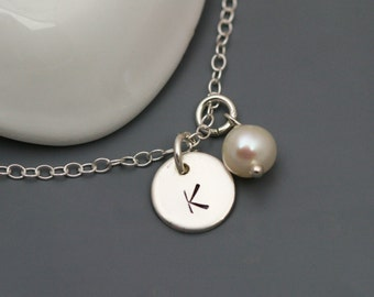 Initial and Pearl Necklace in Sterling Silver - Personalized necklace