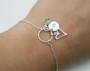 Birthstone, Initial and Heart Bracelet in Sterling Silver - Adjustable Personalized Birthstone Bracelet
