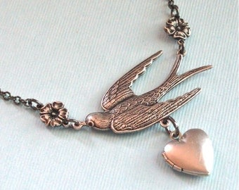Silver Heart Locket Bird Necklace - Bird Jewelry, Keepsake, Photo Locket