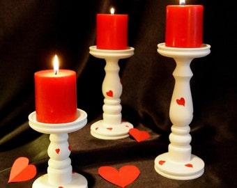 Valentine Pillar Candle Holders - Set of 3