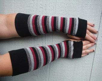 OOAK Striped pink, grey and black fingerless gloves, adult fingerless gloves, seasonal accessory fall fashion GLV#065