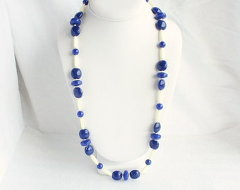 Vintage Blue White Atomic Necklace Cobalt Blue Beaded Oblong Abstract and Disc Beads