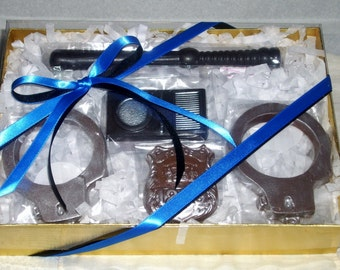 Chocolate Police Handcuffs Badge Night Stick and Walkie Talkie 5 piece Gift Set