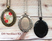 10pc..DIY Vintage Style Oval Necklace Kit...Inside diameter 22x30mm....Pendant Trays