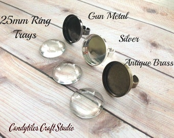 10pk...Silver Adjustable Ring Trays with Glass Inserts...25mm size...Mix and Match