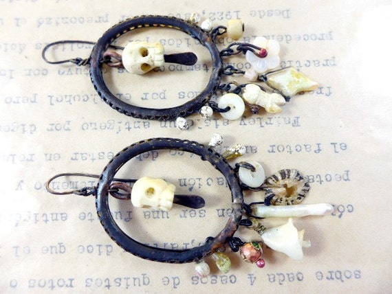 The White Witch. Pale light halloween chandelier dangle earrings bone, pearl, assemblage rustic.