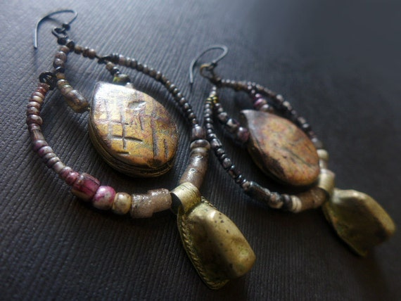 The Waiting Darkness. Rustic assemblage earrings with African prayer beads and art polymer.