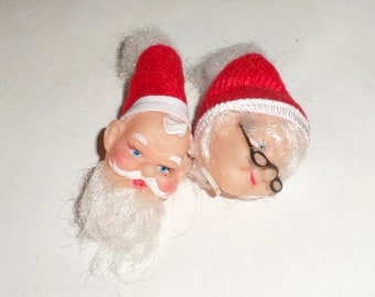 Vintage Santa & Mrs Claus Doll Heads - Small Doll Heads - Christmas Doll Parts - Doll Making Supply - Doll Heads - Christmas Dolls