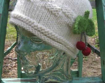 Red Cherries Beanie Hat Hand Knit in Chunky Ivory White Wool a Farmers Market Cap Original Design by Textilesone Adult Size Ready to Ship