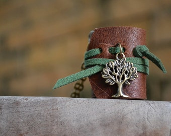 MiniatureBook Necklace Tree & Brown green color leather