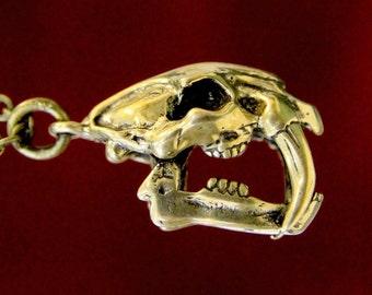 Sabre Tooth Skull Saber Tooth Skull Pendant Necklace Solid Bronze Saber Tooth Skull Smilodon Skull Neckace 084