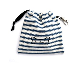 Bone Print Dog Treat Pouch - Blue Ticking