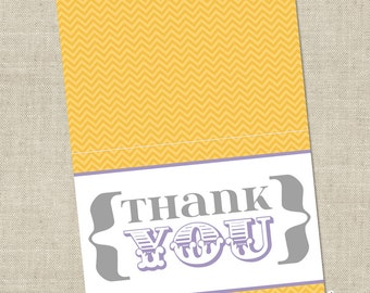Yellow, gray and lilac purple Baby Shower Grey Thank You Card - Gender Neutral Printable Instant Download Digital File
