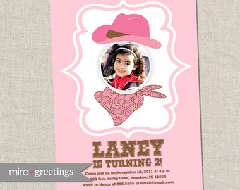 Cowgirl Birthday Party Invitations - Photo Western Invitation Vintage Cowboy hat wanted Birthday Party Invite (Printable Digital File)