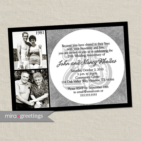 25th Anniversary Invitation Silver Wedding By Miragreetings