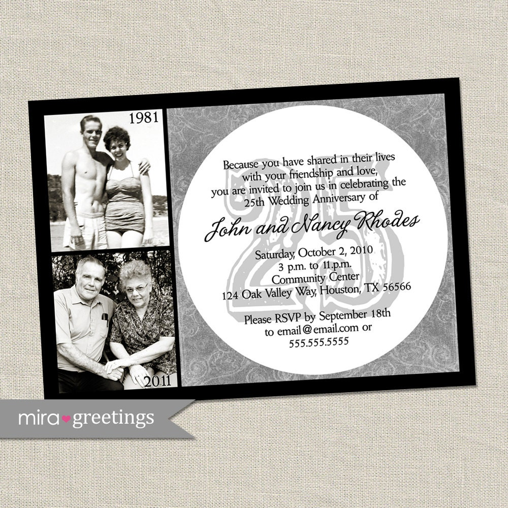 25th Anniversary Invitation Silver Wedding Anniversary Party