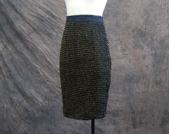 CLEARANCE vintage 80s Pencil Skirt - 1980s Black and Gold Mesh Skirt Sz S M