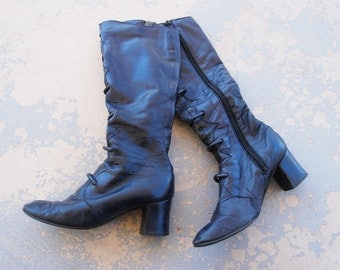 CLEARANCE vintage 60s Gogo Boots - 1960s Navy Blue Leather Mod Knee Boots Sz 4.5 35