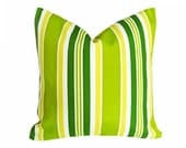Lime Green Patio Pillow, Bright Green Patio Cushions, Striped Outdoor Pillow Covers, 18x18, 45x45, SALE