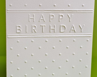 Set of 6 - Happy Birthday Cards, Hand Embossed Cards, Greeting Cards, Note Cards