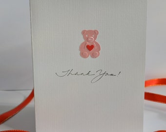 Set of 6 --Pink Bear.  Thank you Cards. Greeting Cards. Note Cards. Girl Baby Shower. Blank Cards