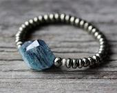Kyanite 14k Gold Beaded Bracelet /  Pyrite Statement Beadwork Bright Blue Gold Natural Gemstone, Deep Sea Blue, Boho Bracelet