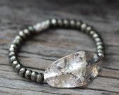 Hammered Silver Pyrite Cuff Bracelet, Beadwork Bracelet, Karen Hill Tribe Silver, Handmade, Golden Pyrite, Fools Gold, Metallic, Bohemian