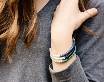 Leather Bangle Bracelet Hammered Silver / Eco Friendly Teal Navy Blue Black, Modern Safari / Spring Fashion Boho Tribal Stacking Bracelet