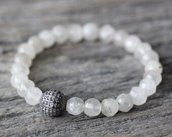 Diamond Rutilated Quartz Stacking Bracelet Beadwork / Oxidized Sterling April Birthstone, Fine Jewelry Cloud White / Romantic Bridal Wedding
