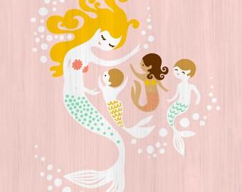 "11X14"" mermaid mother with 2 boys and 1 girl giclee art print on fine art paper. light pink, blonde, light brunette, tan, adoption"