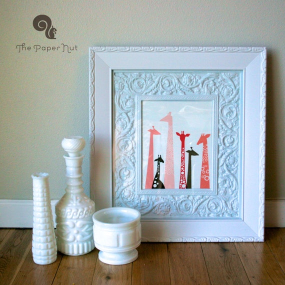 """8X10"""" modern giraffe silhouettes giclee print on fine art paper. pink and brown or taupe gray. portrait format."""