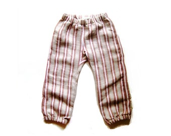 stripe city pant - modern baby trousers - ultra soft linen summer pants - natural red - made in UK