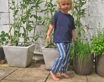 stripe city pant - modern childrens trousers - ultra soft linen summer pants - 2-5 years