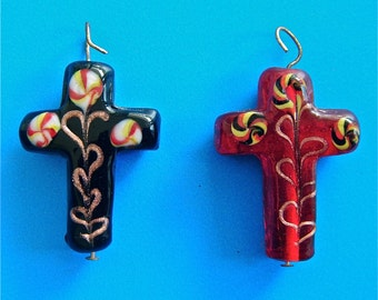 """2 Glass Crosses 1 Black & 1 Red Bead or Pendant 1 3/8 """" High by 1 """" Wide  3/8 """" Deep New"""