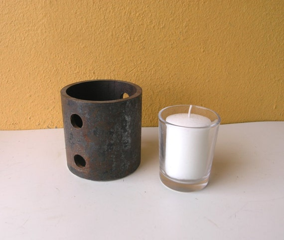 Industrial Candle Holder, Rustic Decor, unisex gift idea, Salvaged metal votive container made from pipe