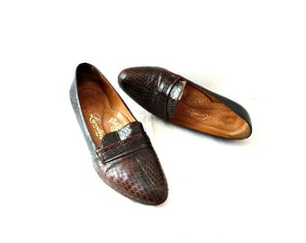 LUCALSAX French Vintage Snake Skin Heel Loafers