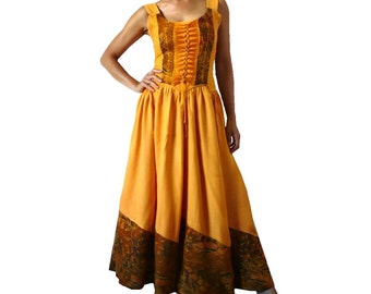 French Vintage Lace up Maxi Dress