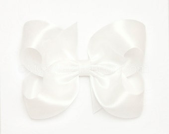White Satin Hair Bow, 4 inch Satin Bow for Flower Girls, White Satin Bow for Bridesmaids Special Occasions Weddings, Satin Boutique Bow