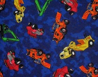 Boy's Fabric, Blue Construction Truck Fabric by Timeless Treasures, Dump Trucks Cotton Fabric for patchwork and crafts
