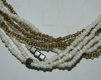 Vintage Seed Bead Brown and White Necklace