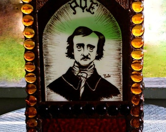 Exceedingly Large Gothic Candle Holder - Edgar Allan Poe Painted on Glass