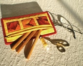 Zipper Pouch - Pencil Case - Quilted Glowing Leaves - Red, Orange, Gold and Yellow Autumn