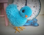 Little Pompom Blue Bird that was featured on cover of Adventures in Pompom Land by Myko Bocek Craft How To Book