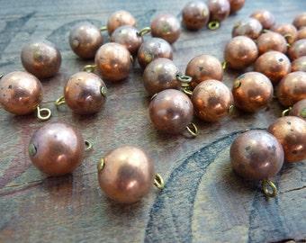 Copper Bead 10mm Ball Drops Single Loop Vintage Bead (6) Metal Bead-Old Stock-Patina Shabby Metal