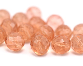 Vintage Peach Beads, 10 Vintage Peach Czech Glass Faceted Beads Cf-46