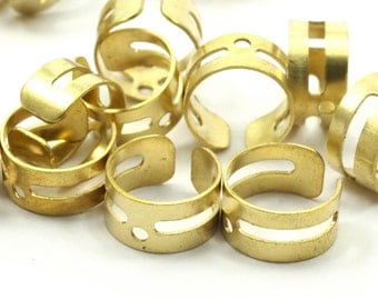 Raw Brass Ear Cuff, 30 Raw Brass Ear Cuffs with One Hole, Earring Findings  (9mm) Brs 01-13  D142
