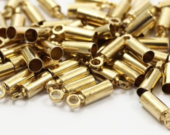 9mm Cord Ends, 50 Raw Brass End Cap, Cord Tip Cord Ends - (9x3mm) E001 B0016
