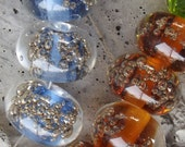 Rainbow Lampwork Glass Beads with Brass Bubbles...