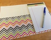 List Taker, Organizer, Coupon Holder,  Chocolate Chevron Zig Zag, Notepad And Pen/Pencil Included