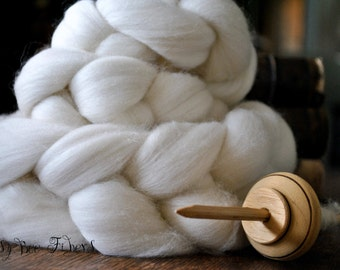 Domestic RAMBOUILLET Undyed Combed Top Wool Roving Spinning Felting fiber - 4 oz